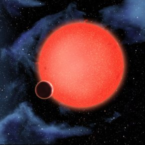 GJ1214b, shown in this artist's view, is a super-Earth orbiting a red dwarf star 40 light-years from Earth. New observations from the NASA/ESA Hubble Space Telescope show that it is a waterworld enshrouded by a thick, steamy atmosphere. GJ 1214b represents a new type of planet, like nothing seen in the Solar System or any other planetary system currently known.