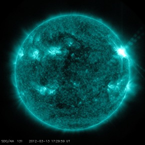 NASA's Solar Dynamics Observatory (SDO) captured this image of an M7.9 class flare on March 13, 2012 at 1:29 p.m. EDT. It is shown here in the 131 Angstrom wavelength, a wavelength particularly good for seeing solar flares and a wavelength that is typically colorized in teal. (Image credit: NASA/SDO)