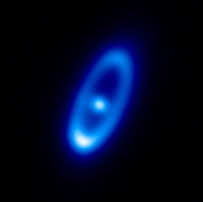 Infrared view of the Fomalhaut dust disk taken by the Herschel Space Observatory. New data reveal that comets are constantly banging into each other around the star, creating its dust disk. (Image credit: ESA)